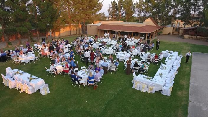 [Image: Our venue provides plenty of space as seen in this photo of the overhead shot of a wedding reception.]